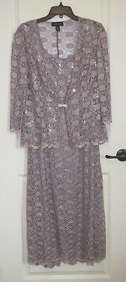 R&M Richards Mother of the Bride Lilac Lace and Sequin accented Size 16 Dress