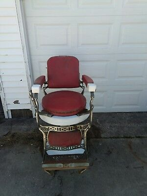 Antique Red Leather/Porcelain Rd. Seat Late '40's Koken Barber Chairs (Lot of 2)