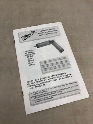 Milwaukee Operator's Manual Heavy Duty Cordless Screwdriver Cat # 6538-1 +