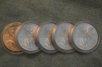 Lot Of Five (5) 1983 Mexico 1oz Silver Libertad Coins BU In Capsules