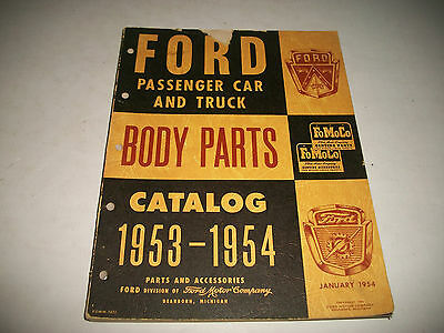 1953-1954 Ford Car & Truck Illustrated Body Parts Catalog  Original Clean
