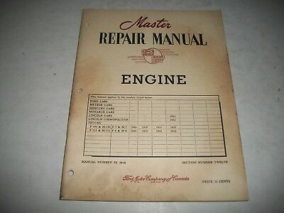 1949-1952  Ford Master Repair Manual Ohv Engines Lincoln & Trucks 279 317 337