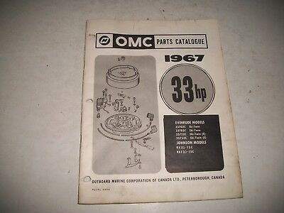1967 EVINRUDE and JOHNSON 33 HP OUTBOARD PARTS LIST CATALOG