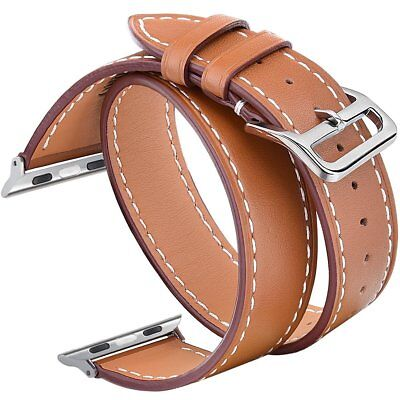 V-Moro 42mm Double Leather Band w/ Metal Clasp for Apple iWatch - Brown READ