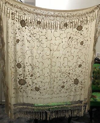 """Antique Chinese Hand Embroidered Silk Piano Shawl Pure Silk  45"""" X 45"""" Fringe 8"""""""