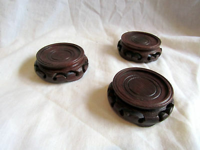 3 Vintage Wooden Chinese Vase Stands