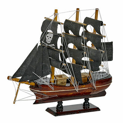 """Wooden Pirate Ship Model 8"""" - Black Sails (ship is assembled)"""