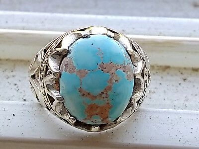 Natural Persian Turquoise Sterling Silver Ring size 9.5 (stone 15x12mm)