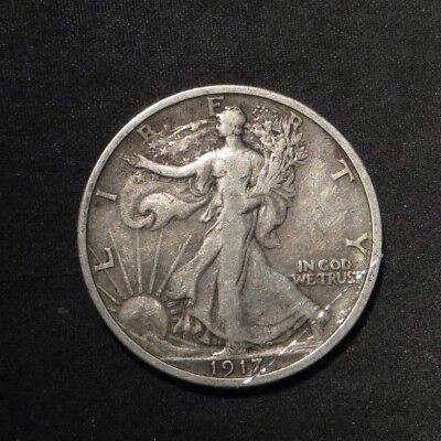 1917-P Walking Liberty Half Dollar 50¢- VF Obv Scratch