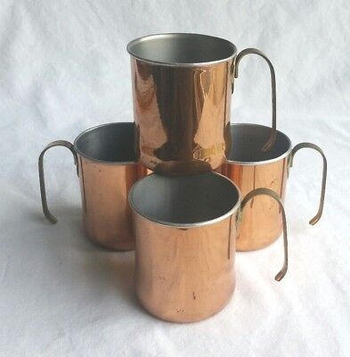 Vintage Copper Mugs SET OF 4 Cup Brass Handles Coppercraft Guild Moscow Mules