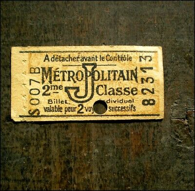Ancien ticket de métro Métropolitain PARIS 2ème classe