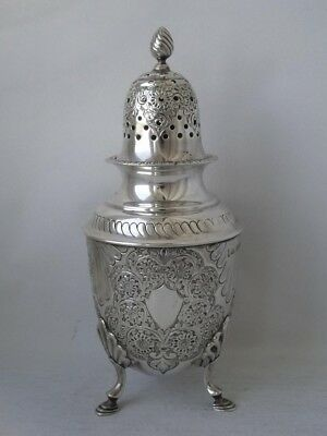 Pretty Antique Embossed Solid Sterling Silver Sugar Shaker/Caster 1899/ H 17 cm