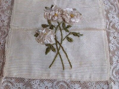Antique French Boudoir Mat Silk Ribbon Work Roses Embroidery Lace Doily