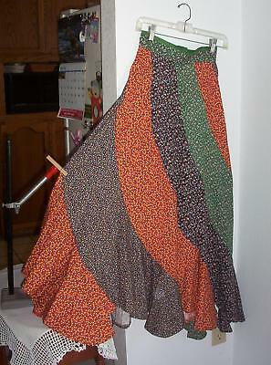 Vintage Womens Maxi Skirt Calico Swirls Gores 70's