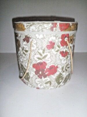 Vtg Storage Box Hat Box Style Quilted Vinyl Floral 'Model Home' Henry Enrich Co.