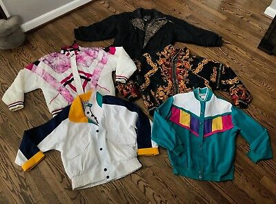 Lot of 5 Vintage Nylon Windbreaker Track Jackets East West Otello Pelle Teddi
