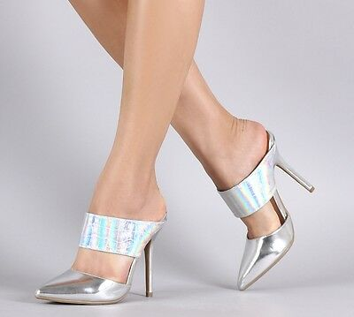 adade713ad8 Silver Hologram High Heel Mule Slip On Pointed Toe Stiletto Pump Womens  Shoes