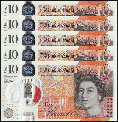 Great Britain 10 England Pounds X 5 Pieces (PCS), 2016, P-NEW, UNC, Polymer,QEII
