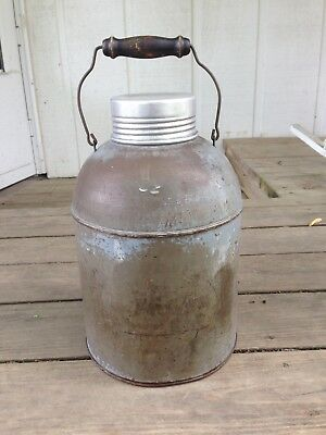 Antique Metal 1 Gallon Glass Lined Thermos Water Jug with Wooden Handle