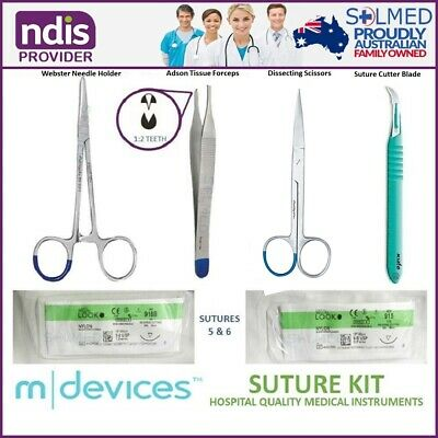 Premium Practice Suture Kit Stainless Intruments & Sterile Sutures Usp5.0 & 6.0