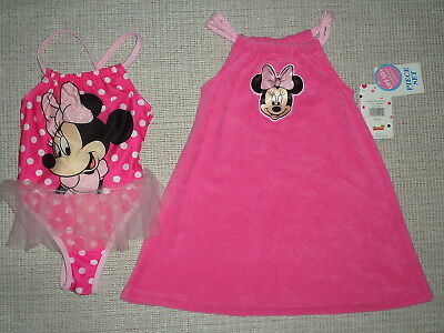 Nwt Minnie Mouse Tu-Tu Swimsuit And Coverup Sz 2T Upf 50+ Uv Protection
