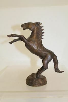 Vintage Brass Animal Statue/Figurine of Horse Rearing on Back Hind Legs