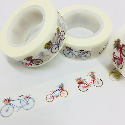 Washi Tape Bicycles & Flowers 15Mm X 10Mtr Planner Craft Wrap Scrap Mail Art