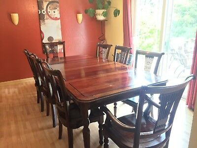 Chinese Fan Style Rosewood Dining Table Set 11 Piece Banquet