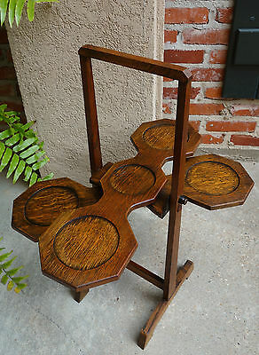 Antique English Carved Tiger Oak Folding Cake Muffin Stand Table Monoplane