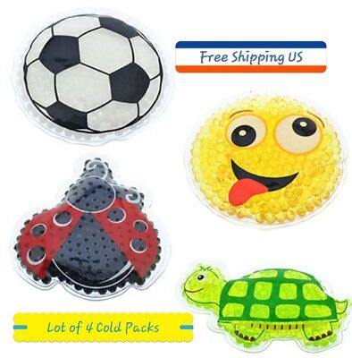 Lot of 4 Kids Instant Relief Reusable Gel Cold Ice Pack Boo Boos Pain Lunch Box