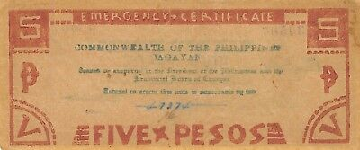 Philippines  5  Pesos   Series  1945   WWII issue  Circulated Banknote