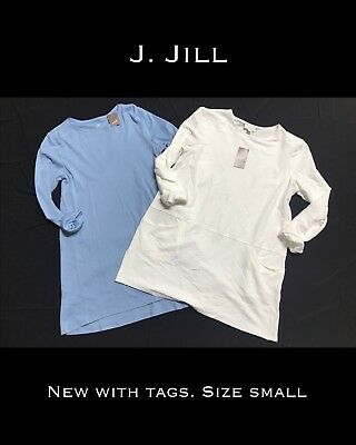 NWT New J. Jill lot of 2 Tunics (Blue-Pima Cotton/White has pockets) Small