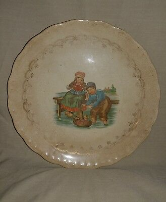 Old Antique D. E. McNicol Heavy Baby's / Childs Plate / Bowl East Liverpool, O.