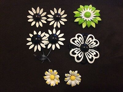 Lovely Lot Of Vintage Enamel Brooches And Earrings