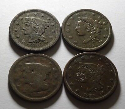 Early Us Large Cents, 1838, 1839, 1850 & 1850  ~  Bargain Priced!