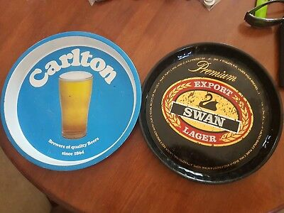 Vintage Carlton and Swan Lager tin beer trays