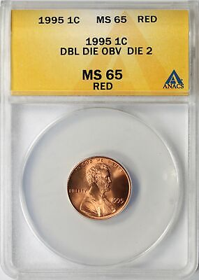 1995 Lincoln Memorial Cent 1c ANACS MS65 RED DDO DIE 2 Doubled Die Obverse
