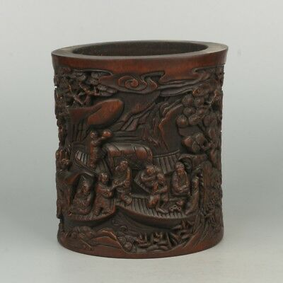 Chinese Exquisite Hand-carved people Carving bamboo Pen holder