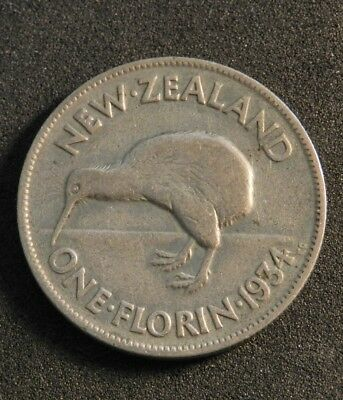 1934 New Zealand Florin In V/good Condition