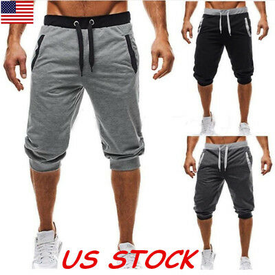 Summer Men's Knee Run Jogger Sports Shorts Fitness Gym Pants Casual Trousers USA