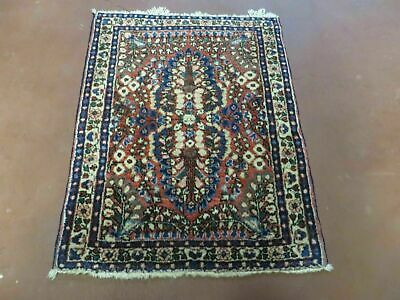"""2' X 2' 6"""" Antique Hand Knotted Made Persian Sarouk Wool Rug Carpet Red Nice"""