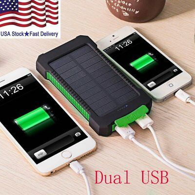 50000mAh Solar Power Bank Waterproof 2USB LED Battery Charger For Cell Phone US