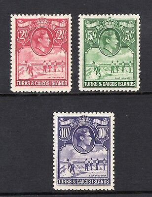 1938-45 Turks & Caicos. SG#203-05. Mint, Lightly Hinged, Very Fine.