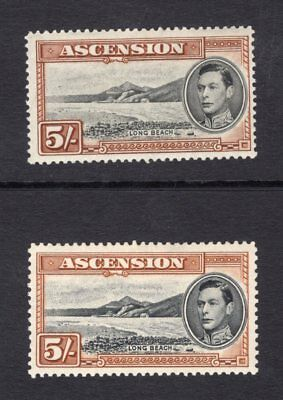 1938-53 Ascension. SC#48-48a, SG#46-46a. Mint, Lightly Hinged, Very Fine.