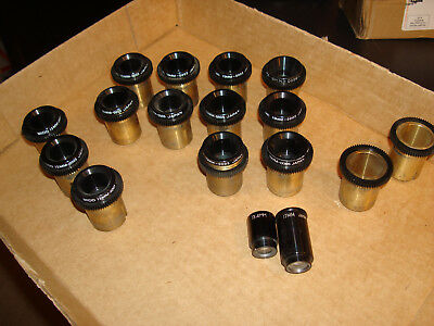 Assorted Microscope Lenses  -  Lot of 15