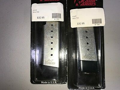 2 Kahr Arms MK9 PM9 CM9 9mm 7 Round Magazine with Finger Extension