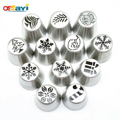 4Pcs Stainless Steel Christmas Icing Piping Pastry Nozzles Lot Cake Decor Tools