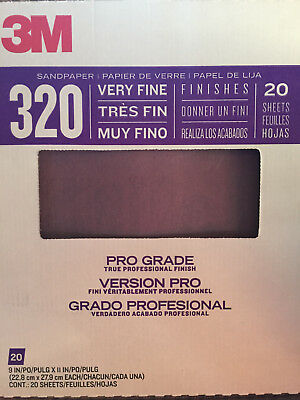 20 Sheets 3M Pro Grade Advanced Sandpaper 320 Grit New!!