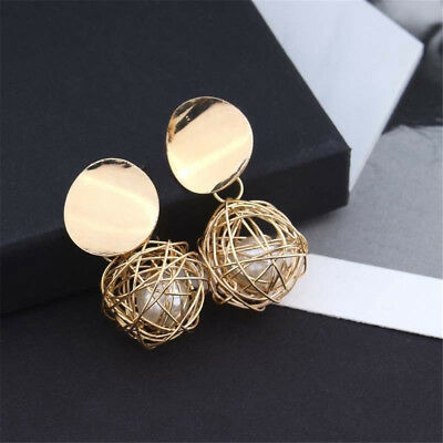 Retro Charm Women Gold Plated Round Pearl Dangle Drop Earrings Stud Jewelry Gift