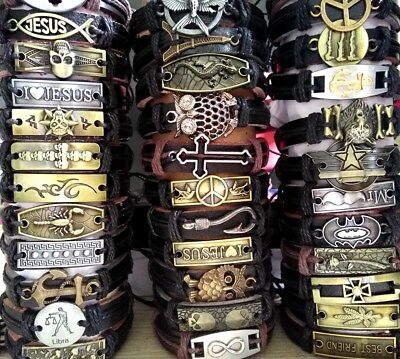 50 Men's Women's Assorted Leather Alloy Bronze Bracelets Wristbands Bangles Cuff